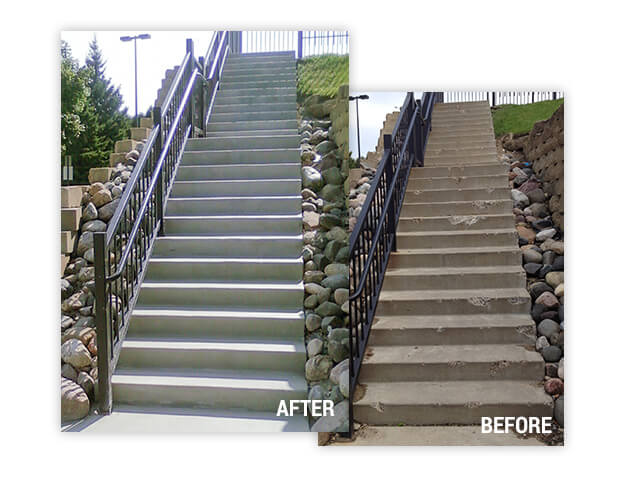 before and after repair on concrete steps