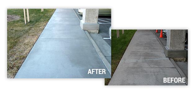 before and after repair on the sidewalk repair