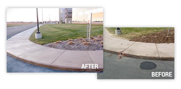 before and after sidewalk repari