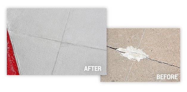 detailed before and after of cracked sidewalk repair