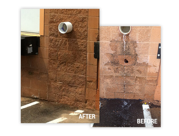 before and after of brick and block repair from water damage