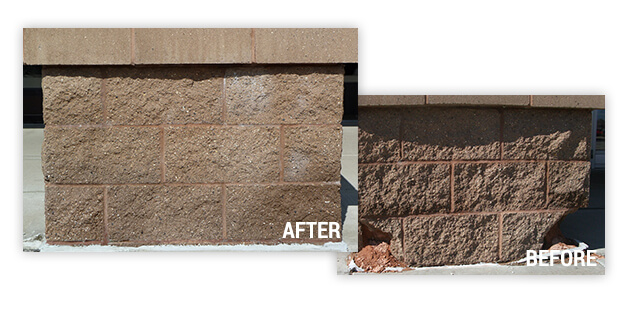 Before and after of block pillar restoration