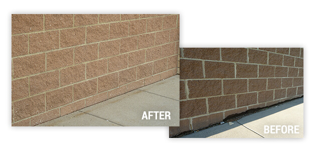 Before and after of brick and block repair on exterior wall