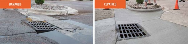Before and after of catch basin repair